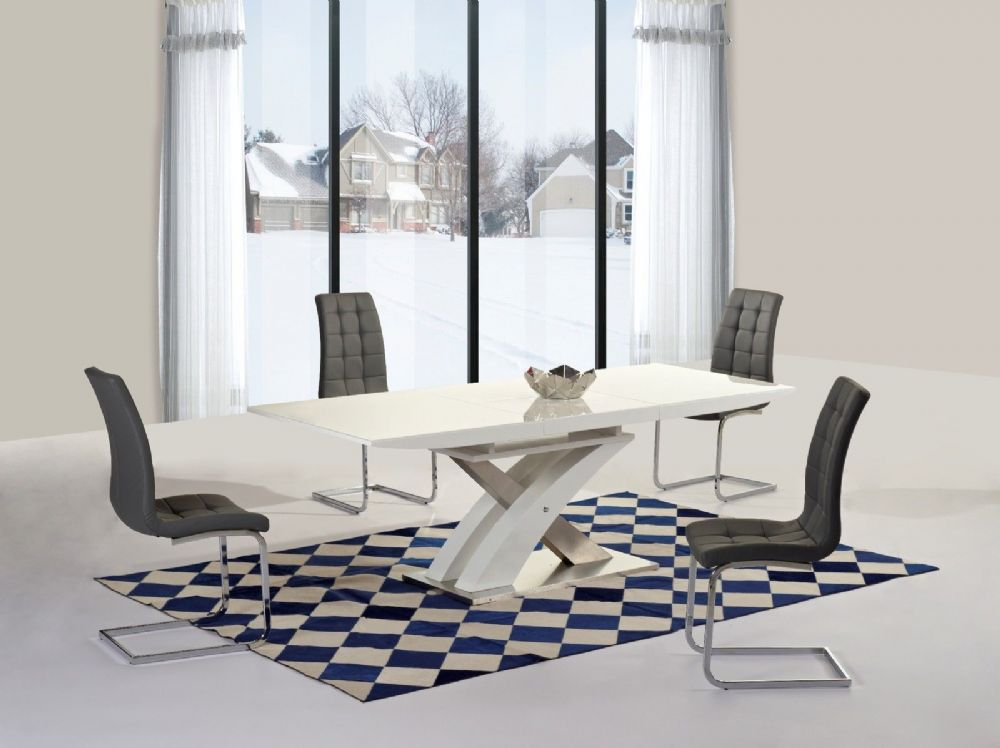 GA Alexis XO EXTENDING White 160 220 Cm Dining Set 6 Grey White Black Chairs